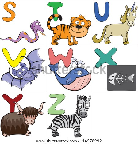 Hand-drawn alphabet with cartoon animals from S to Z.Raster version. - stock photo