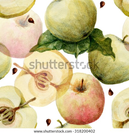 Hand drawn apples watercolor seamless pattern - stock photo