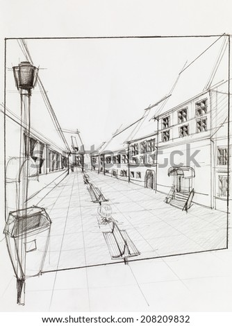hand drawn architectural perspective of  pedestrian street - stock photo
