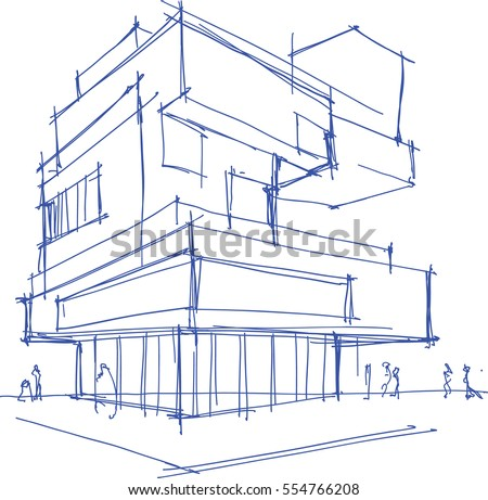 Hand Drawn Architectural Sketch Modern Building Stock