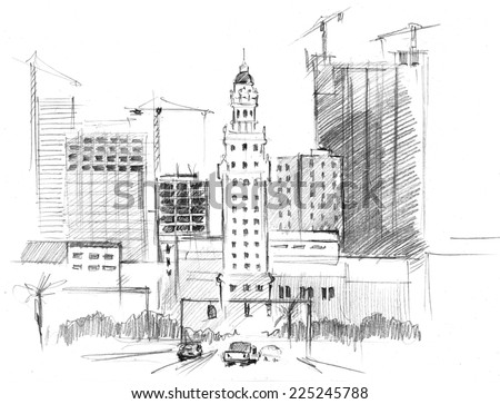 Hand Drawn Artwork Building Work Of Skyscrapers In A Big Modern City