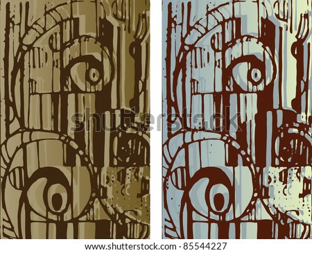 Hand-drawn background texture. Abstract cityscape. raster version. - stock photo
