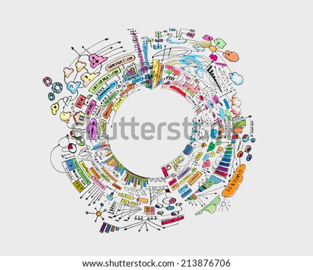 Hand drawn background with business sketches and ideas - stock photo