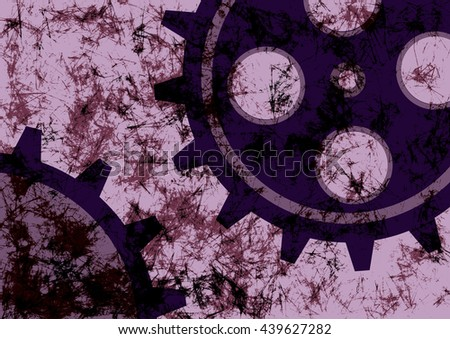 Hand drawn background with gear wheel. Abstract grunge background with mechanism of watch.  - stock photo