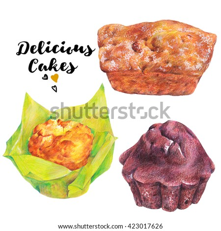 Hand drawn baking set isolated on a white background, muffins with chocolate, jam and raisins, Retro pencil food illustration  - stock photo