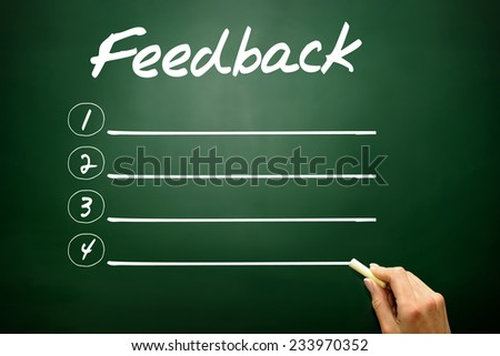 Hand drawn blank Feedback list business concept on blackboard - stock photo