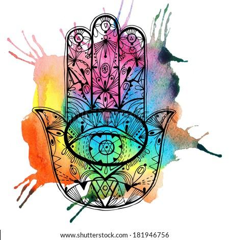 Hand drawn boho hamsa hand with watercolor. Raster hand drawn illustration. - stock photo