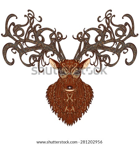 Hand drawn brown deer covered with vintage ornament - stock photo