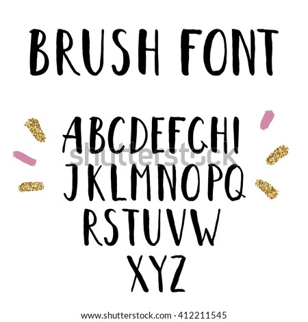 Creative Letters hand drawn brush font uppercase hand stock illustration 412211545