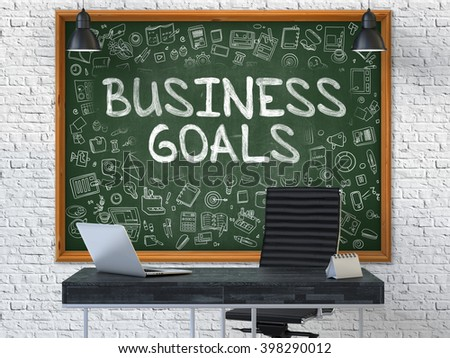 Hand Drawn Business Goals on Green Chalkboard. Modern Office Interior. White Brick Wall Background. Business Concept with Doodle Style Elements. 3D. - stock photo