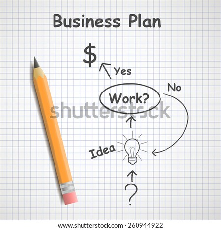 Hand drawn business plan on paper sheet with pencil
