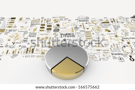 hand drawn business strategy and 3d pie chart as concept - stock photo
