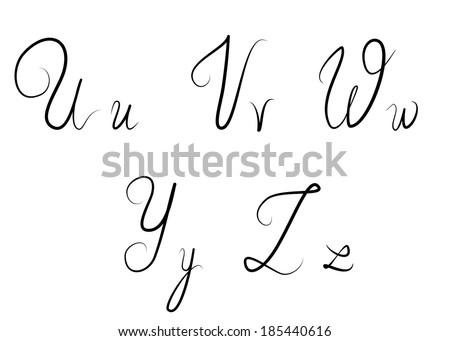 Hand drawn calligraphic letters U,V,W,Y,Z - stock photo