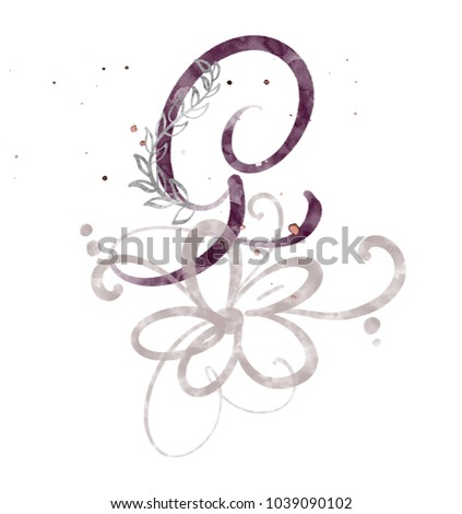 Hand Drawn Calligraphy Letter G Watercolor Script Font Isolated Letters Written With Ink