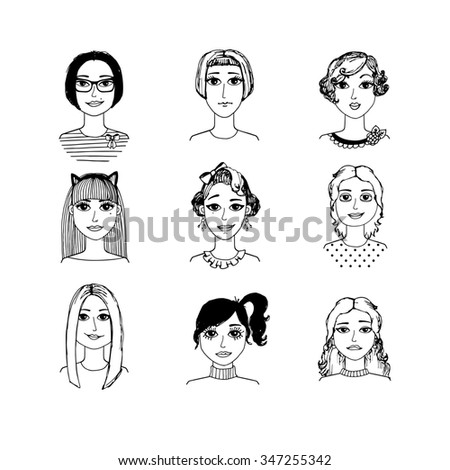 Hand-drawn cartoon faces crowd doodle collection of avatars