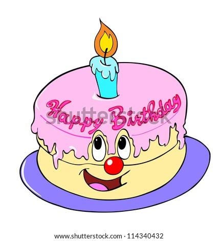 Hand Drawn Cartoon Cakehappy Birthday Cake Stock Illustration