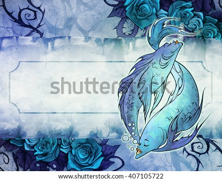 Hand drawn cartoon zodiac sign illustration of pisces on the paper textured background