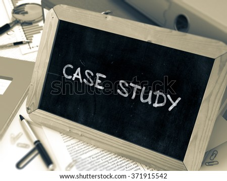 Hand Drawn Case Study Concept  on Chalkboard. Blurred Background. Toned Image. 3d Render. - stock photo