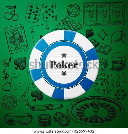 Hand drawn Casino Collection such as roulette, cards, cigar, whisky with single blue casino chip - stock photo