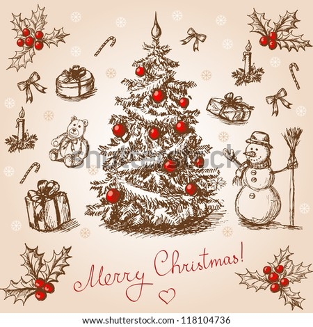 Hand drawn christmas card in vintage stile. Raster version. Vector is also available in my gallery - stock photo
