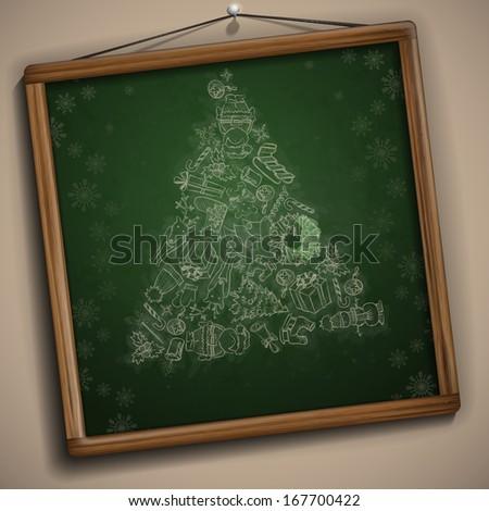 Hand Drawn Christmas Set. Christmas And New Year Symbols. - stock photo