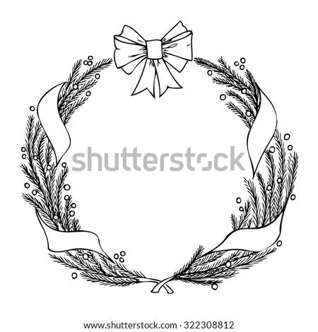 Hand-drawn Christmas wreath on a white background. Raster version - stock photo