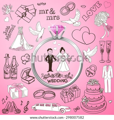 Hand drawn collection of decorative wedding design elements. Vintage set of holiday objects and signs with Silver diamond Ring