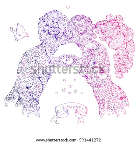 Hand Drawn Colored Love Kissing Couple Girl And The Guy Two Human Hands Gesture
