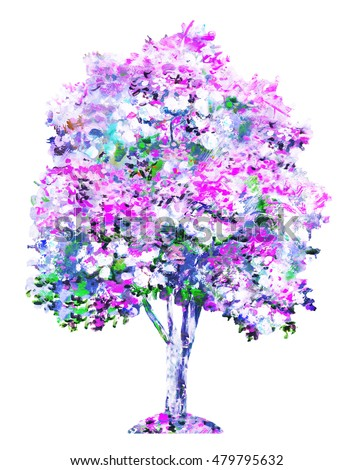 Hand Drawn, colorful creative tree. Illustration isolated on white background