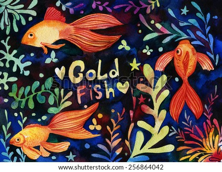 Hand drawn colorful illustration with gold fishes and sea weed.  Hand drawn texture for invitations, wrapping paper, cards and other designs. - stock photo