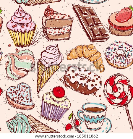 Hand drawn confectionery seamless pattern croissant Cupcake candy marshmallow ice cream cake donut and coffee.  - stock photo