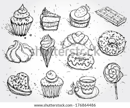 Hand drawn confectionery set croissant Cupcake candy marshmallow ice cream cake donut and coffee.  - stock photo