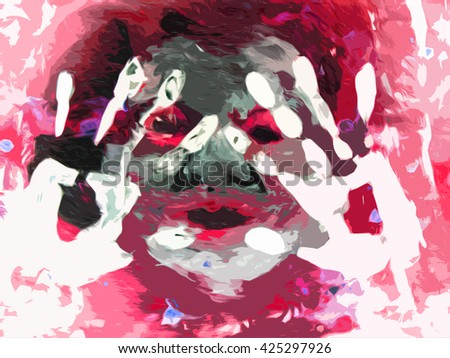 hand drawn crazy person human abstract, with prints of hands. schizophrenia, psychosis. art horror.      - stock photo