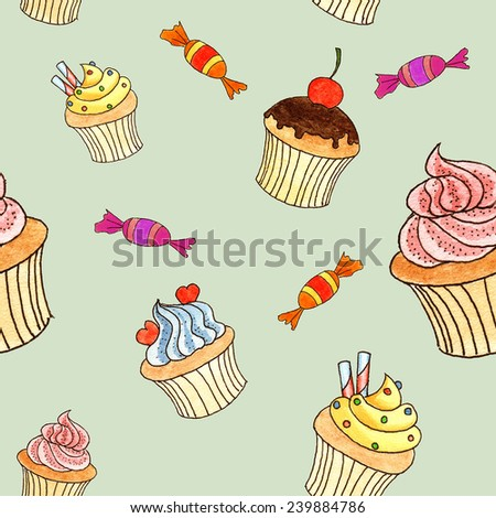 Hand drawn cupcakes watercolor background
