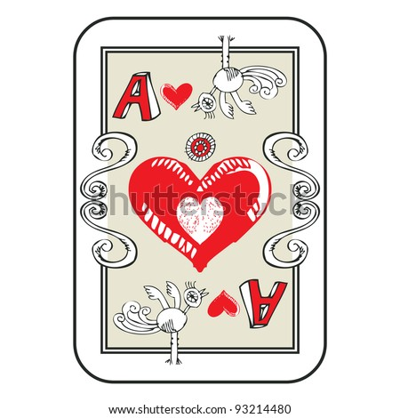 hand drawn deck of cards, doodle ace of hearts isolated on white background