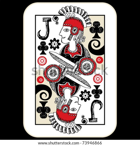 hand drawn deck of cards, doodle jack of clubs - stock photo