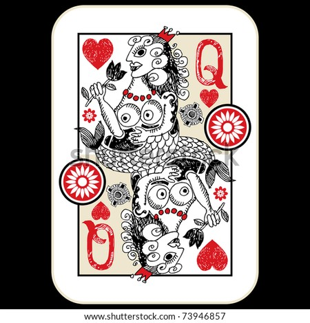 hand drawn deck of cards, doodle queen of hearts - stock photo