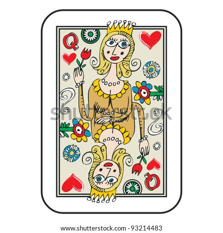 hand drawn deck of cards, doodle queen of hearts isolated on white background - stock photo