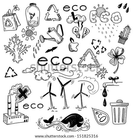 Hand drawn design elements - eco - stock photo