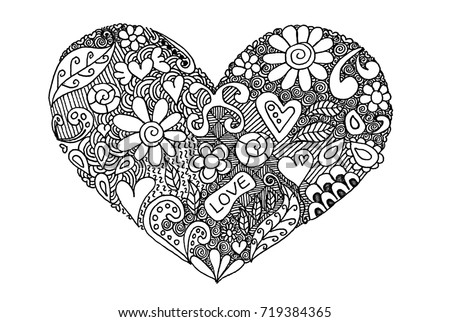 heart zentangle coloring pages - photo#26