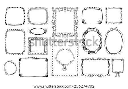 Hand-drawn doodle monochrome frame for the portrait, album ornament on Valentines Day - stock photo