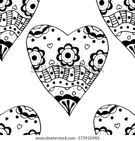Hand drawn doodle Seamless black and white Sketchy Doodle Heart Swirls art Illustration background.
