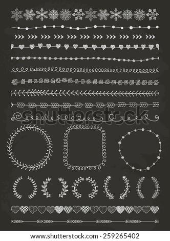 Hand-Drawn Doodle Seamless Borders and Design Elements. Decorative Flourish Frames, Brackets. Illustration. Chalk Drawing. Pattern Brushes - stock photo