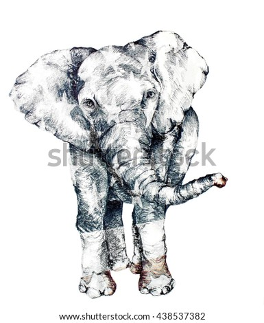Hand Drawn Elephant with Red White & Blue Stars and Stripes Symbolic of the RNC Republican Party of the United States