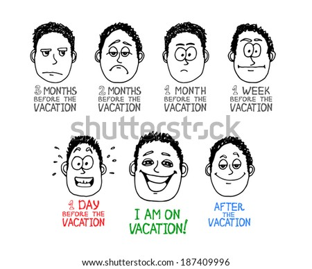 Hand drawn emotion cartoon face about vacation - stock photo
