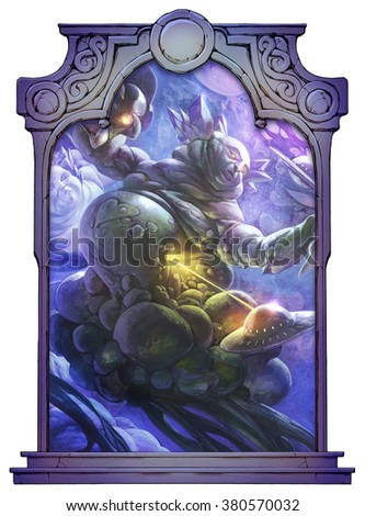 Hand drawn epic fantasy acrylic illustration of awesome cosmic giants fighting flying saucer ships in the open space framed with a stone decorated hand drawn arch - stock photo