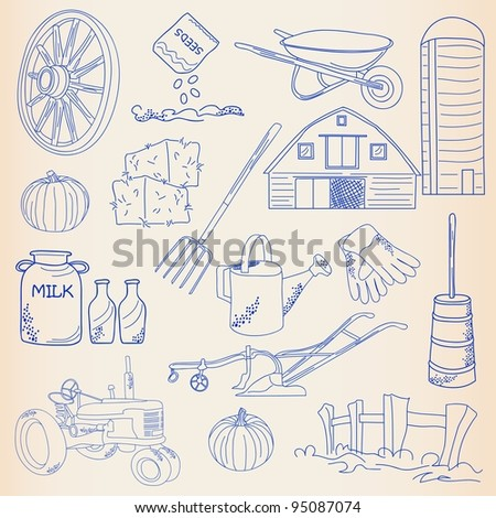 Hand Drawn Farming Icons - stock photo