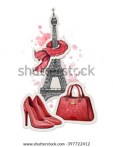 Hand drawn fashion illustration. Eiffel Tower, shoes and a handbag
