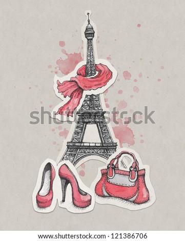 Hand drawn fashion illustration. Eiffel Tower, shoes and handbag - stock photo