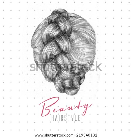Hand drawn fashion illustration. Hairstyle for female. - stock photo